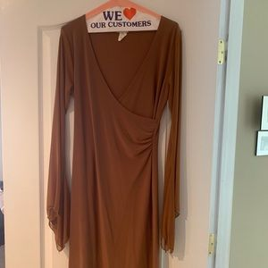 Brown dress with ruching on the left side